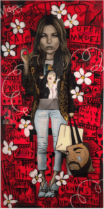 THE PRODUCER BDB Kate - RED Collab with Flore - 72 X 36 Acrylic, Aerosol and Watercolor on Wood Panel finished with resin
