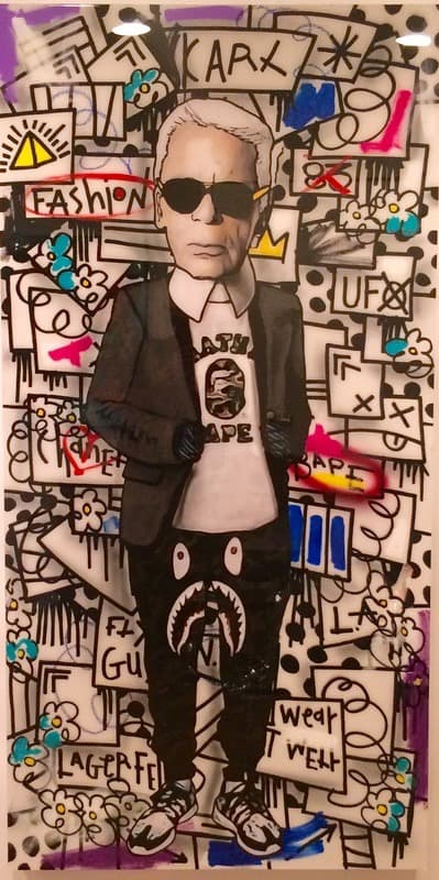 The producer bob Karl Lagerfeld Collab with Flore - 72 X 36 Acrylic, Aerosol and Watercolor on Wood Panel finished with resin