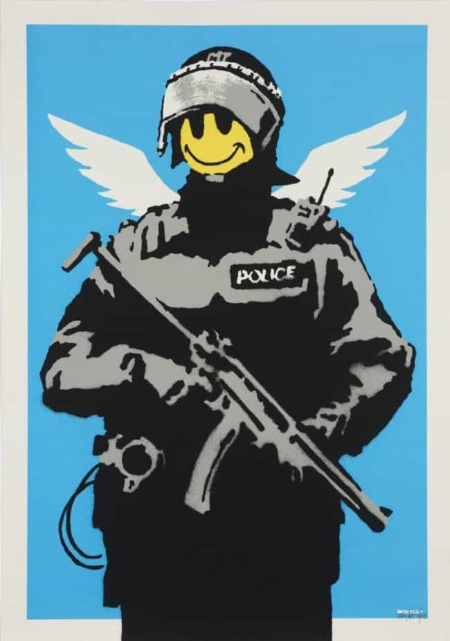 Banksy Flying Copper Unsigned available at zebra one gallery