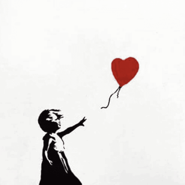 Banksy Girl with a Balloon Red ed 600 Unsigned at zebra one gallery