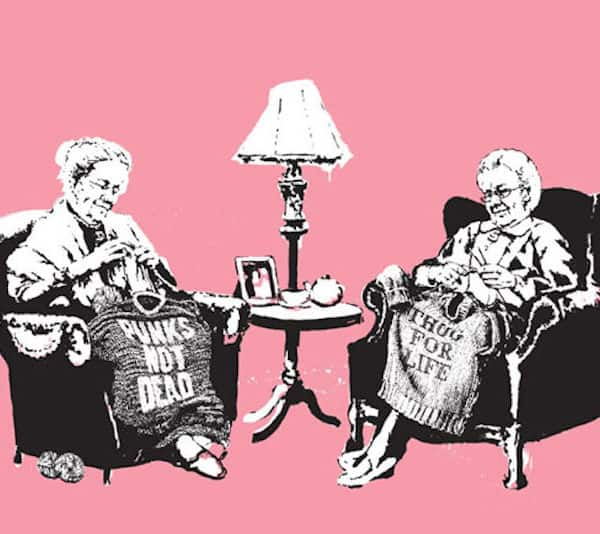 Banksy grannies unsigned at zebra one gallery