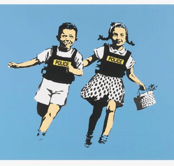 Banksy Jack and Jill (Police Kids) 2005 at Zebra One Gallery