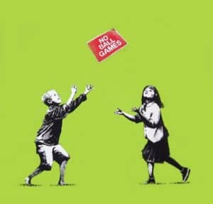 Banksy No Ball Games (Green) at Zebra One Gallery