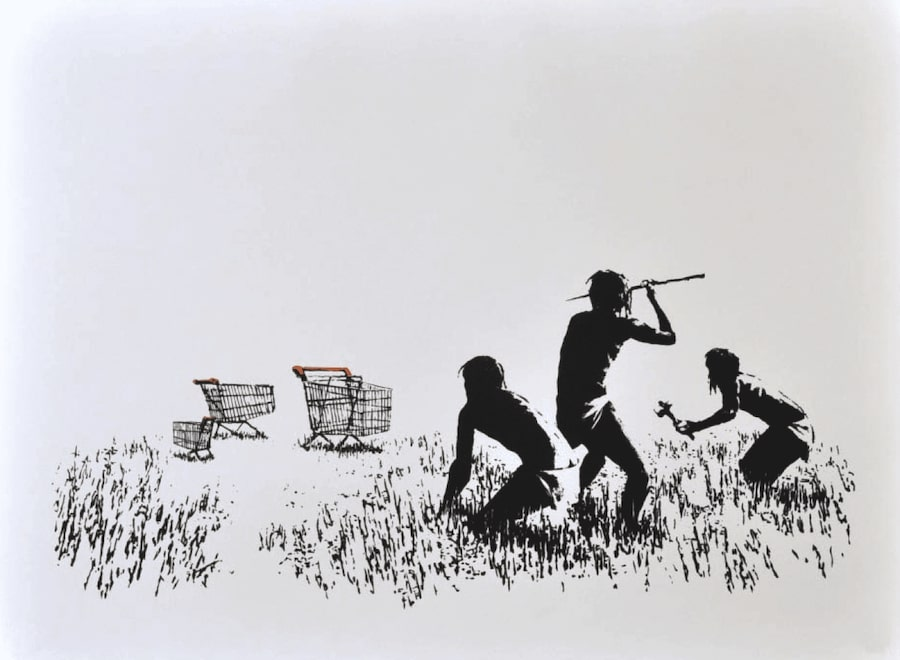 Banksy Trolleys (Black & White) Signed available at zebra one gallery