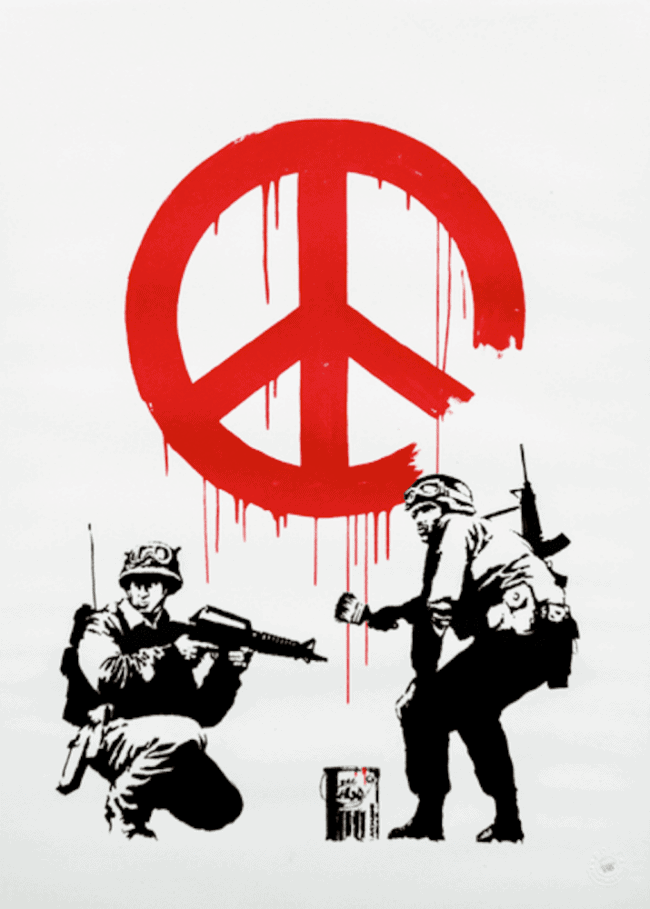 banksy-cnd-soldiers-signed-print-framed at zebra one gallery