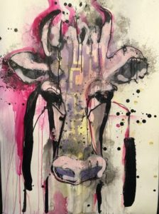 Lucie Flynn The Cow Series Pink Moo at Zebra One Gallery