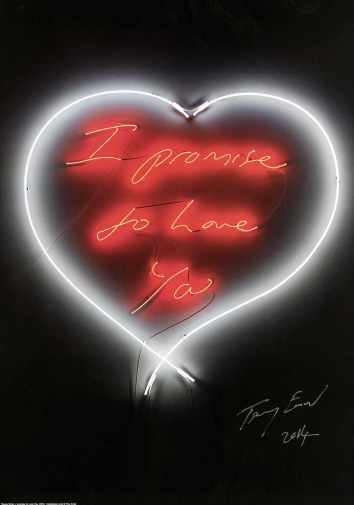 Tracey emin neon poster at zebra one gallery