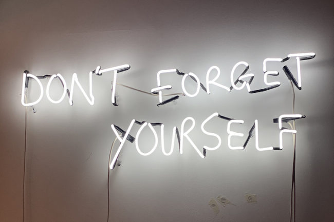eve de haan print of a neon don't forget yourself at zebra one gallery