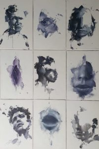 Alex Jul Sketches series oil on canvas at zebra One Gallery