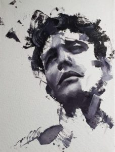 Alex Jul sketches series 1 oil on canvas at zebra one gallery