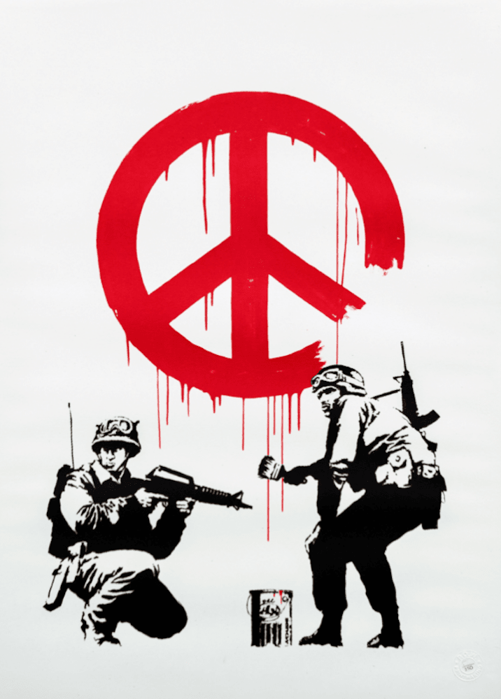 Banksy CND Soldiers at zebra one gallery