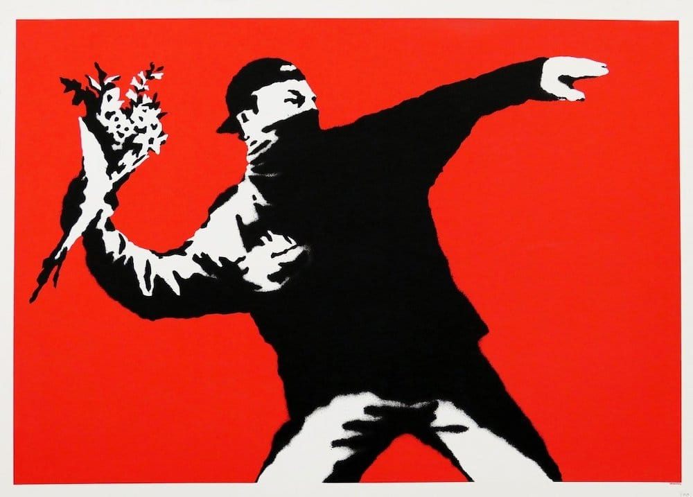 Banksy Love is in the Air Unsigned at zebra one gallery