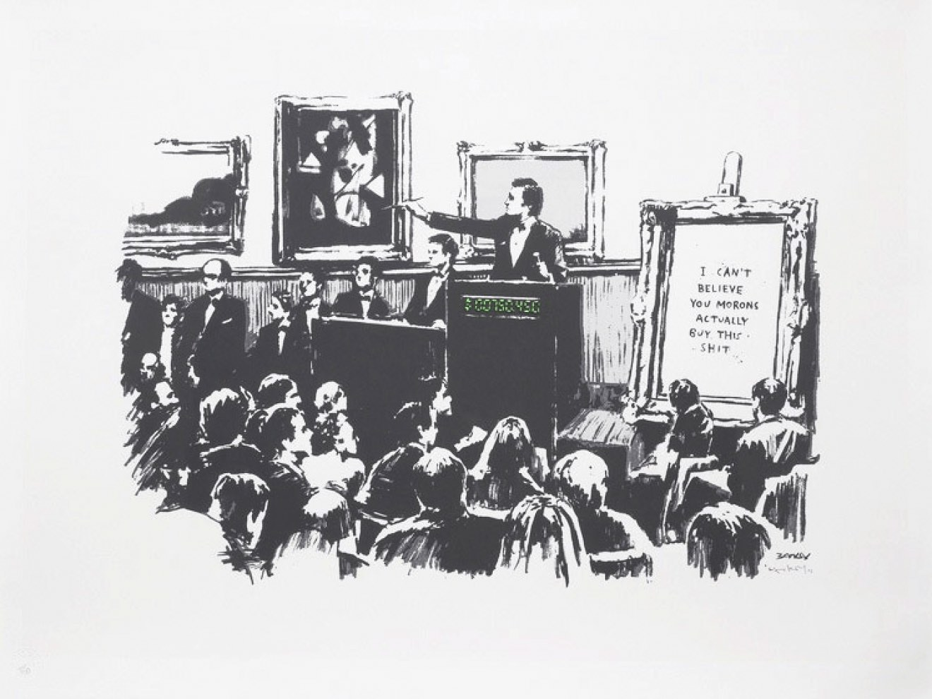 Banksy Morons White Unsigned 2006 at zebra one gallery
