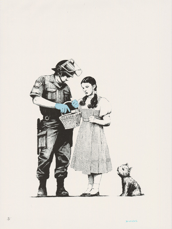Banksy signed Stop and search available at Zebra One Gallery
