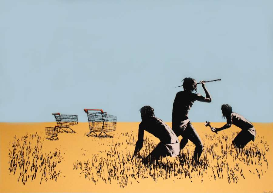 Banksy Trolleys Colour at Zebra One Gallery